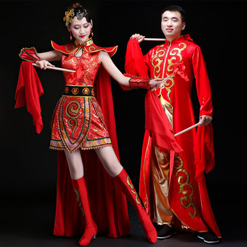 mulan level 6 High Quality Red Dum Dance Costume women Chinese Folk Dance Clothes Christmas New Year Stage Performance Hua Mulan Cosplay