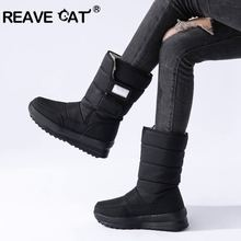 REAVE CAT Plus size 36-41New Snow boots women thick fur warm mid calf boots platform shoes ladies cotton waterproof winter boots(China)
