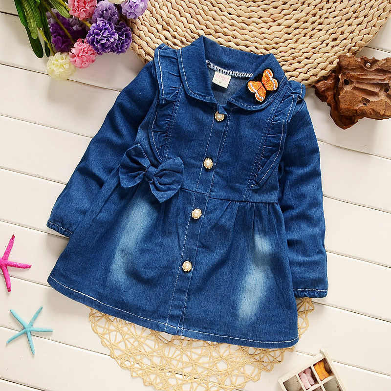 Children denim coats autumn spring girls jackets toddler baby fashion cotton outerwear clothes for baby girls tops outfits