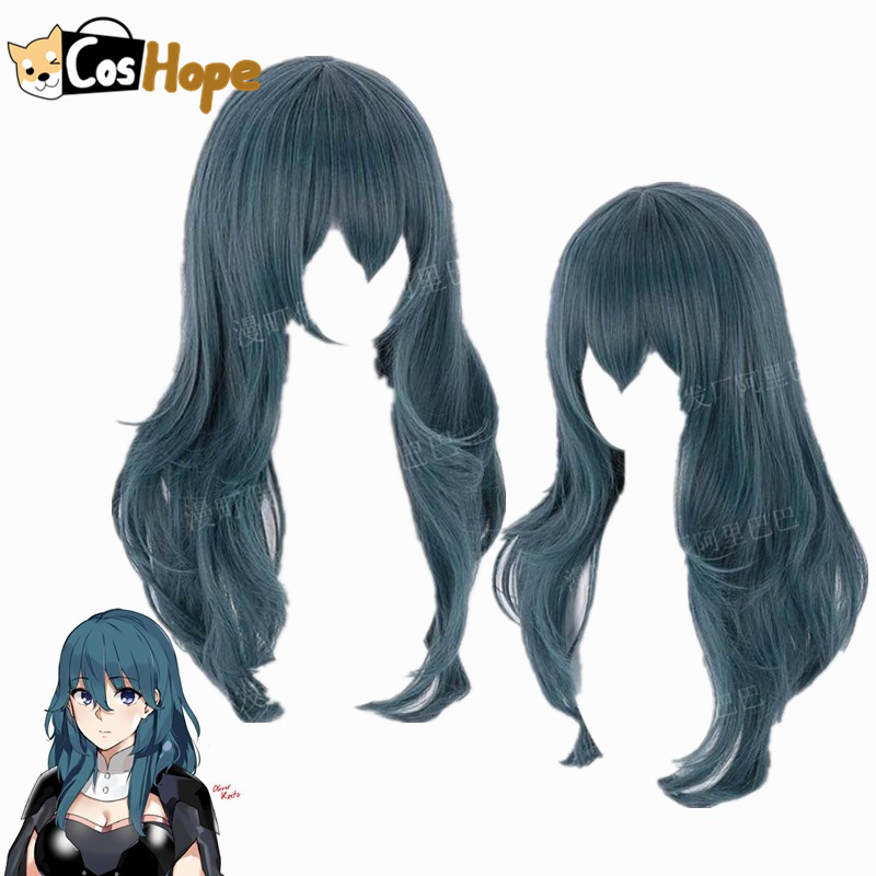 Byleth Cosplay Fire Emblem Cosplay Three Houses Women Curly Blue Wig Cosplay Anime Cosplay Wig Heat Resistant Synthetic Wigs