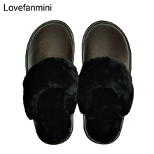 Genuine Cow Leather slippers couple indoor non slip men women home fashion casual shoes PVC soft soles winter 611GP