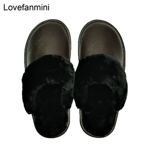 Image 1 - Hakiki Inek Deri terlik çift kapalı kaymaz erkekler kadınlar ev moda rahat ayakkabılar PVC yumuşak tabanı kışlık 611GP