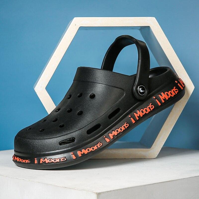 Graffiti Printing Men Summer Shoes Sandals Men's Holes Sandals Hollow Breathable Flip Flops Croc Shoes Fashion Beach Slippers
