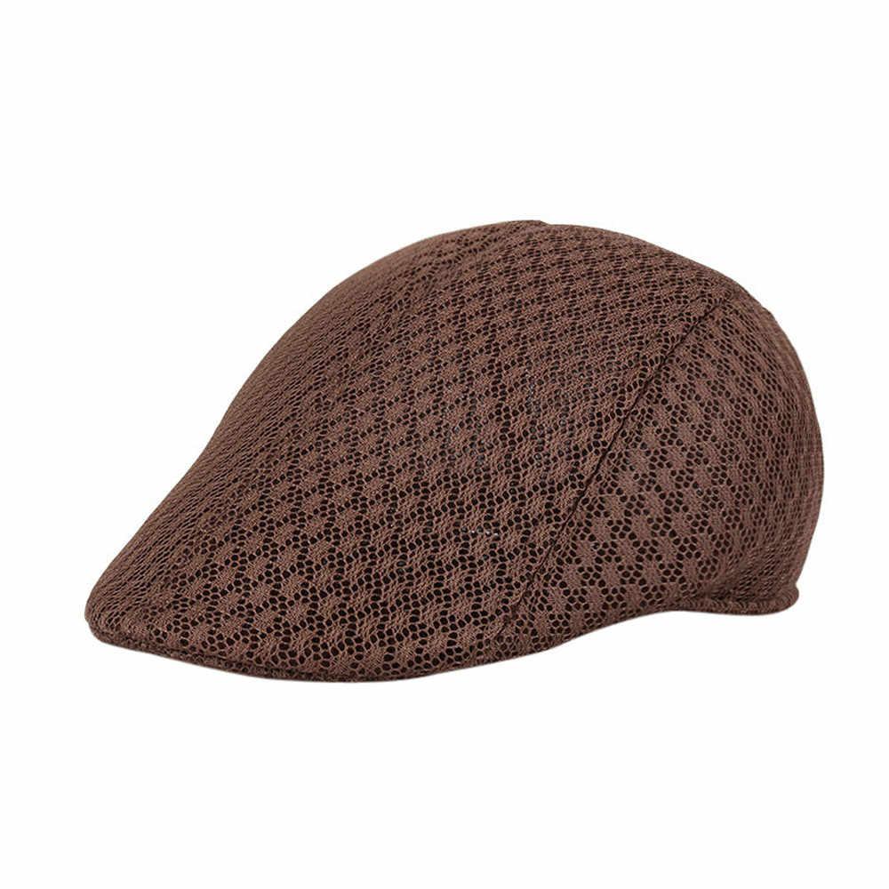Erkekler nefes örgü Newsboy şapkalar rahat bere kapaklar şapka Newsboy nefes bere Unisex Cabbie düz doruğa şapka calcetines #445