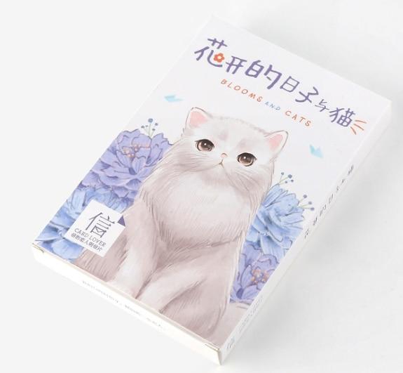 Cat Flower Paper Postcard(1pack=30pieces)