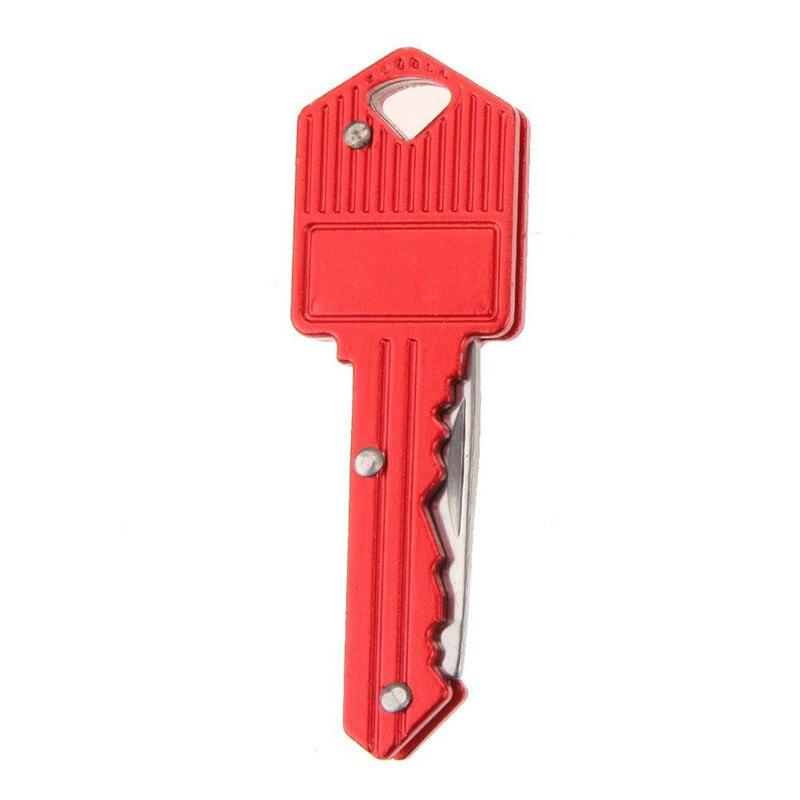 Мини-нож в виде ключа Тактический лагерь Открытый брелок складной открытие Открыватель Карманный Самообороны безопасности многофункциональный инструмент коробка для лезвий - Цвет: Red