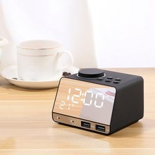 Smart Alarm Clock Radio Bluetooth Speaker Dual Jam Alarm dengan Dual Usb Pengisian Port dan Cermin(China)