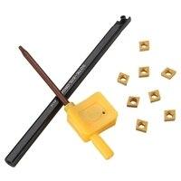 XNEMON 1 juego S07K SCLCR06 torno herramienta de torneado mandrinado Barra soporte + 8 Uds CCMT0602 insertos + llave inglesa 7x125MM|Máquina de perforar|   -