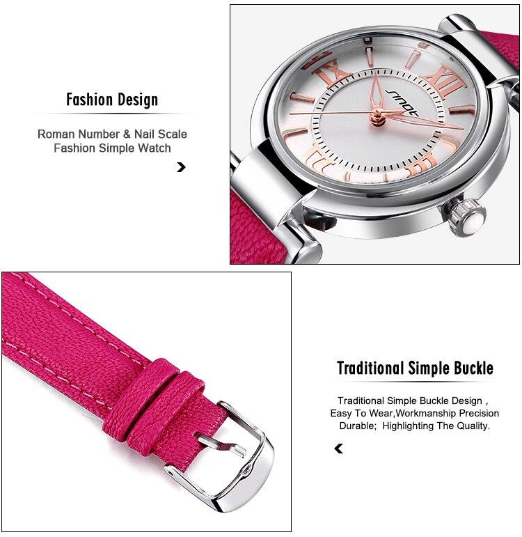 relógio pulseira couro quartzo senhoras simples relógio