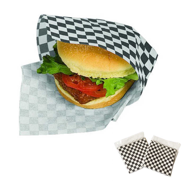 24 stücke 12 ''x 12'' Hamburger Brot Papier Lebensmittel Einweg Sandwich Verpackung Wachs Papier Schwarz Rot Karierten Schnelle lebensmittel Korb Liner