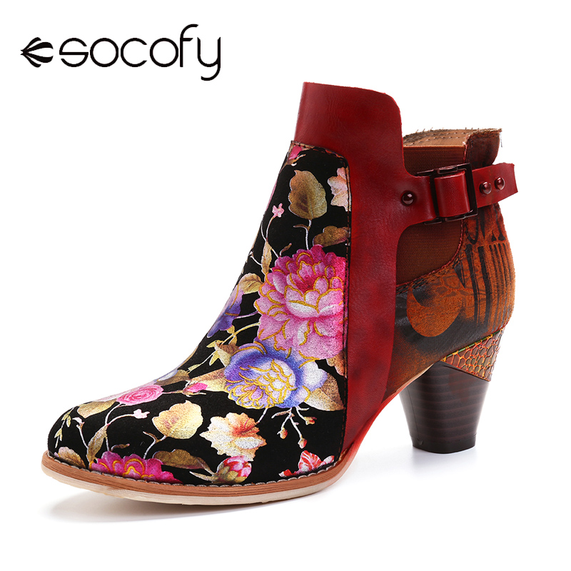 SOCOFY Retro Bloomed Flower Combine With Modern Style Letter Elegant Unique High Heel Boots Women Shoes Botas Mujer 2020