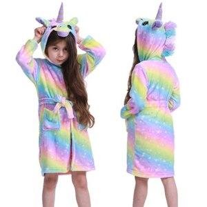 2020 Winter Kids Unicorn Robe For Girls Pajamas Animal Hooded Children Bathrobe Boys Sleepwear Kids Dressing Gown Baby NightGown(China)