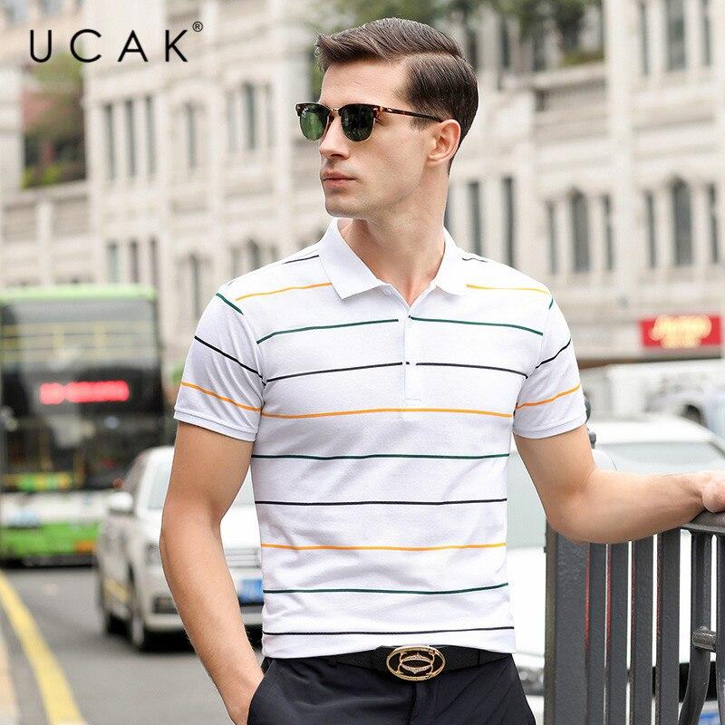UCAK Brand Striped Cotton T Shirt Homme Summer Short Sleeve Tshirt Men Cltohes Streetwear Turn-down Collar T-shirt Men U5234
