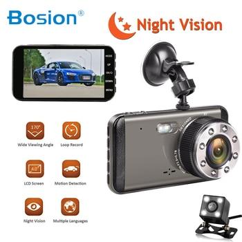 "Dash Cam Dual Lens Car DVR Vehicle Camera Full HD 1080P 4"" IPS Front+Rear Night Vision Video Recorder G-sensor Parking Monitor"