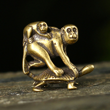 Antique Bronze Turtle Crarrying Monkeys Miniatures Figurines Desk Ornaments Decorations Accesorries Copper Funny Children Gifts