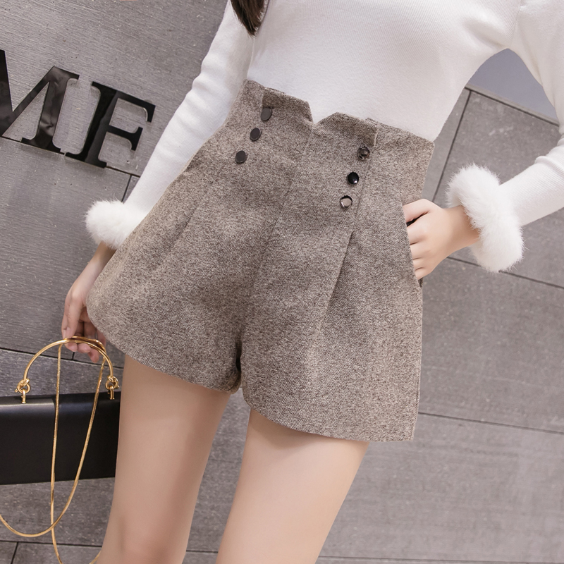 Fashion Women Wool Shorts 2019 New Double-breasted High Waist Woolen Shorts Winter Ladies Casual Wide Leg Shorts