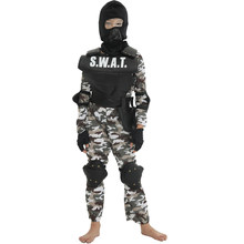 Kdis Jongens Militaire Uniform Camouflage Kleur Print Jungle Leger Pak Kinderen Soldaat Jumpsuit Met Cap Swat Kleding Set(China)