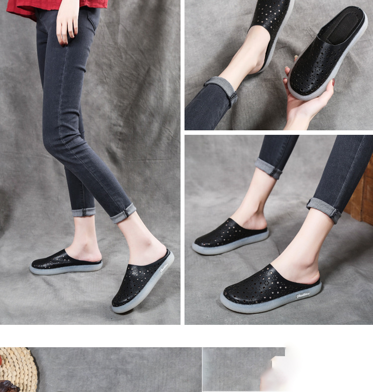 PEIPAH Genuine Leather Wrap Toes Women Slippers Flat With Solid Shoes Woman Shallow Sandalias Mujer Slides Female Flip Flops