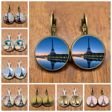 City of Romance France Paris Eiffel Tower Literary Simple Style Earings Glass Cabochons Jewelry DIY Earring Women Lover Gifts(China)