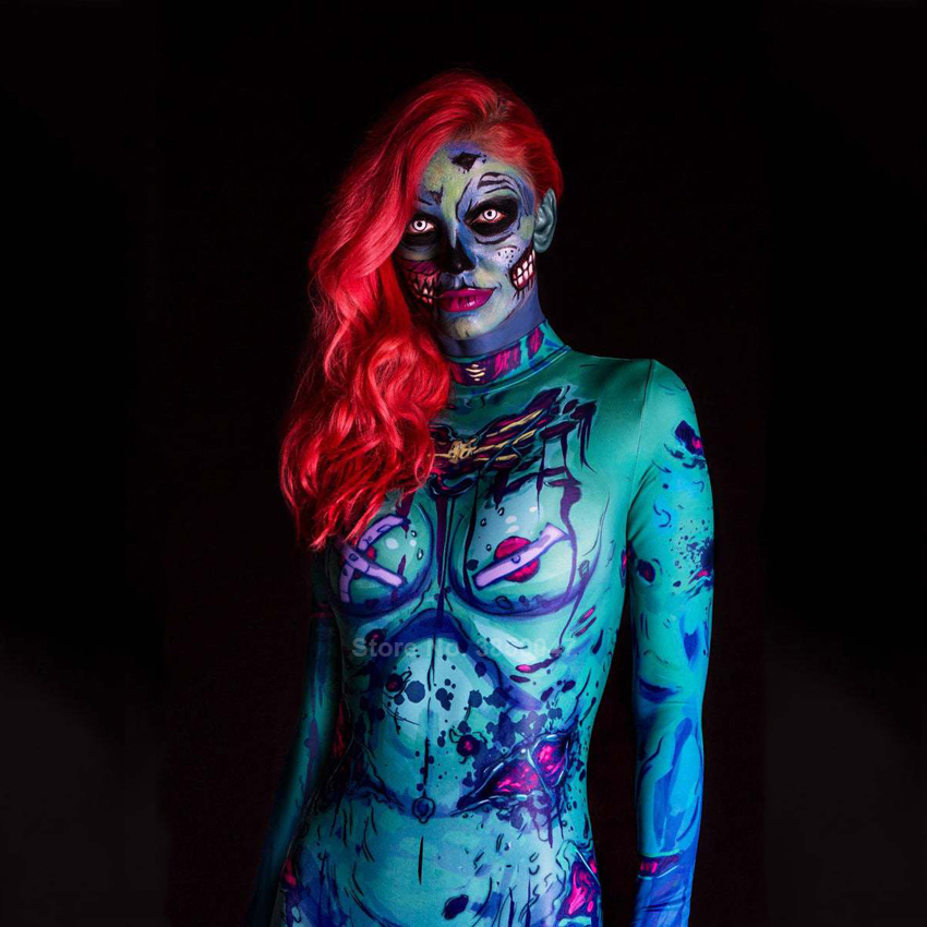 Scary Cosplay Costume for <font><b>Women</b></font> <font><b>Halloween</b></font> Carnival Party <font><b>Gothic</b></font> Devil Witch Zombie Zentai Bodysuit <font><b>Sexy</b></font> Jumpsuit Day of The Dead image