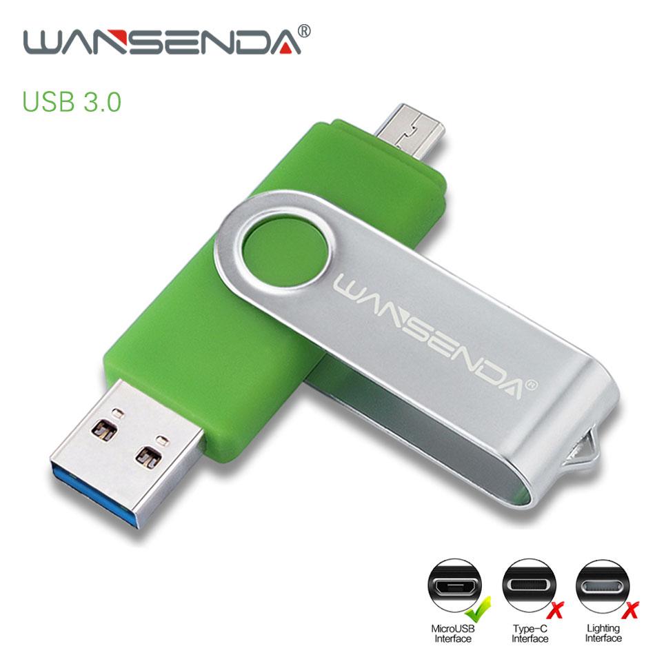 WANSENDA Metal USB Flash Drive OTG USB3.0 & Micro Usb Pen Drive 256GB 128GB 64GB 32GB Pendrive 2 IN 1 Micro USB Memory Stick