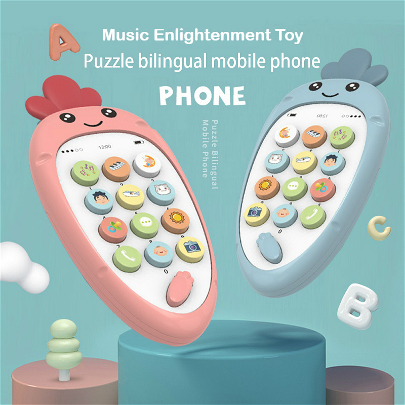 New Baby Vocal Toy Mobile Phone Early Education Puzzle Bilingual  Safety Bite Multi-Function Soft Plastic Toys For Newborn
