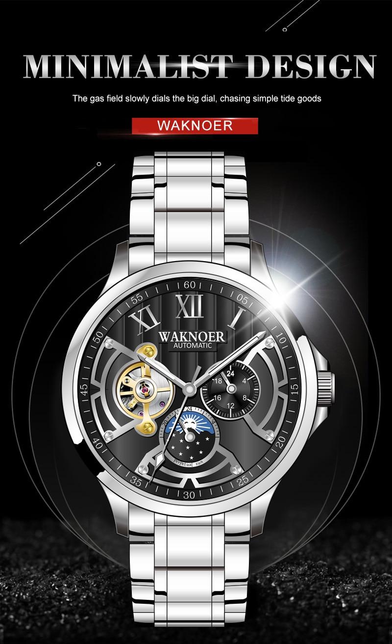 Hb47655fd37164b6d8bb06d120ad0070ef WAKNOER Automatic Mechanical Watch Men Stainless Waterproof Moon Phase Luminous Luxury Gold  Business Tourbillon Montre Homme