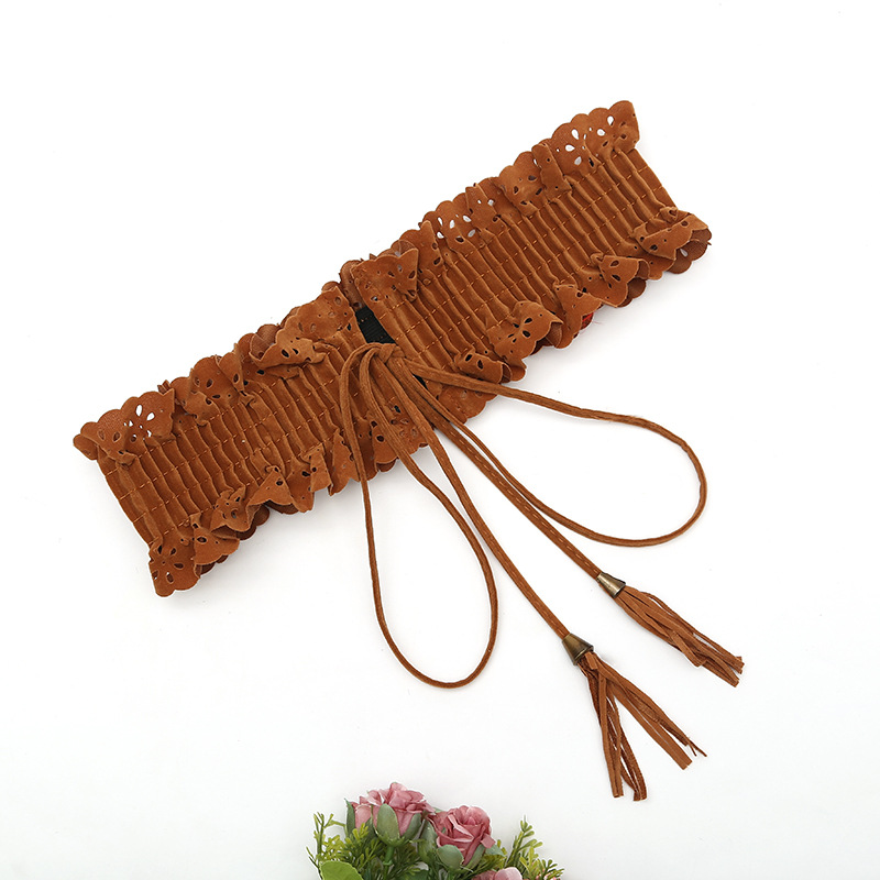 Soft Leather Soft Leather Belt Ladies' Skirt Waist String Girdle Clothing Accessories Frilled Belt
