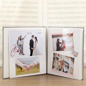 Image 2 - Linen Cover Picture Album Self adhesive Film DIY Handmade Scrapbook Memory Photo Book Sticky Type Grey Home Decor