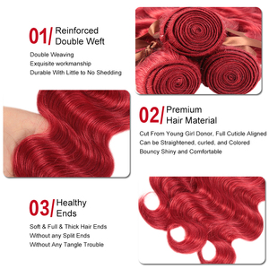 Image 4 - Sleek Red Brazilian Bundles With Frontal Body Wave Lace Frontal With Bundles 8 28 Remy Human Hair Weave 3/4 Bundles With Closure