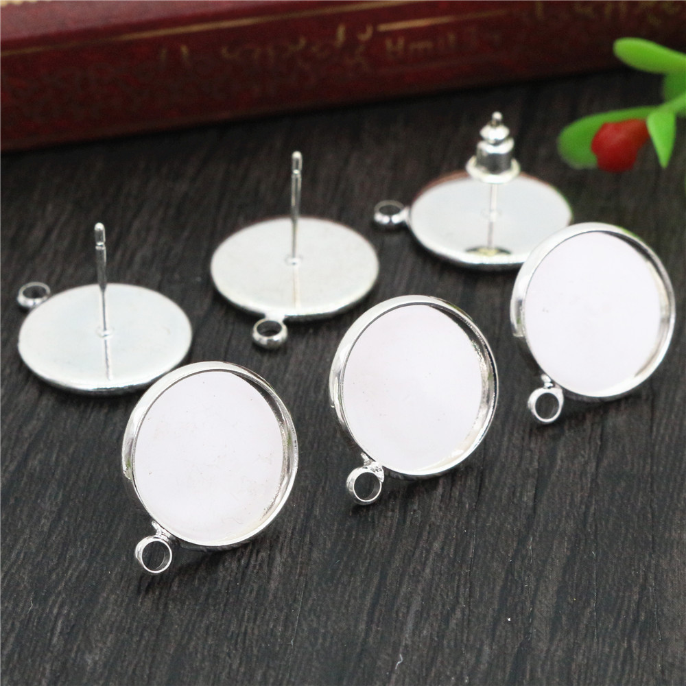 14mm 10pcs/Lot Silver Plated Colors Earring Studs,Earrings Blank/Base,Fit 14mm Glass Cabochons,earring Setting-T1-13