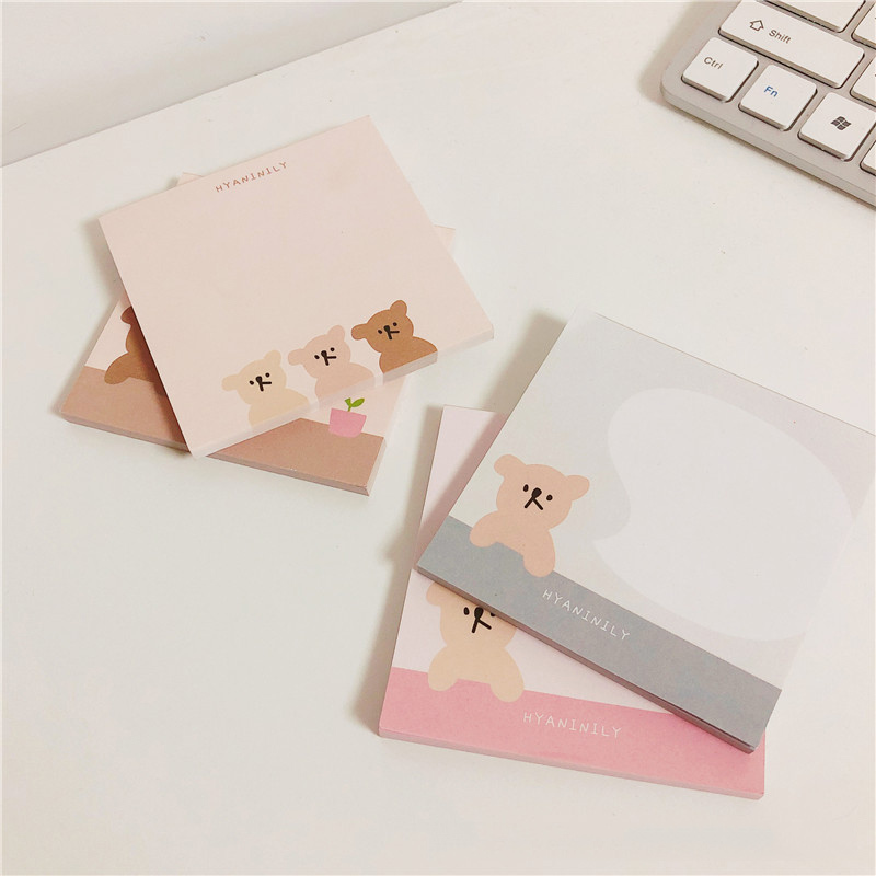 Корейский Ins три маленьких медведей Блокнот 50 листов площади с милым мультипликационным принтом для офиса сообщение Бумага кавайные канцел...