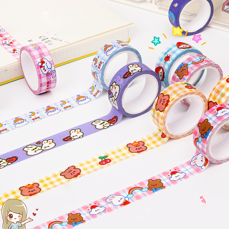 1.5cm x 5m Cute Bear bunny Kawaii Washi Tape Set Japanese Paper Masking Tape Tapes Stickers Decor Stationery Tape Scrapbooking