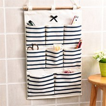 6/8 lattice multi-layer storage bag linen striped small items home kitchen hanging wall