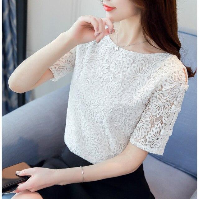Fashion lace women blouses shirt summer short sleeve women tops hollow Lace blouse women shirt Female Blusas femininas Plus size 4
