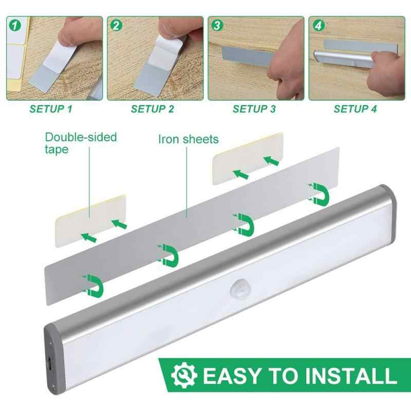Motion Sensor Closet Light 10 LED Wireless Light Bar Stick-ON Anywhere ตู้ Night Light แบตเตอรี่ขับเคลื่อน