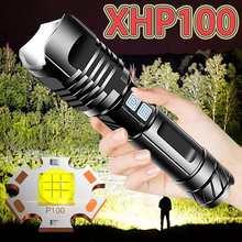 Lampe torche à main tactique et étanche, torche à haute puissance, Rechargeable par USB, XHP100, 300000 LM, pour Camping, chasse, 18650