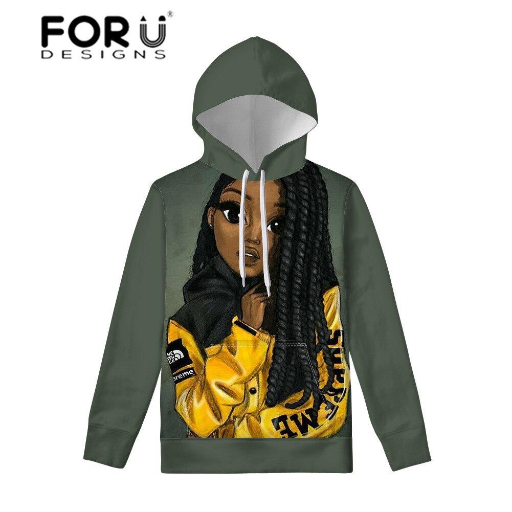 FORUDESIGNS Ladies Long Sleeve Pullovers For Women African Girls Black Art Afro Hoodies Teenagers Fashion Sweatshirt Hoodie 2019