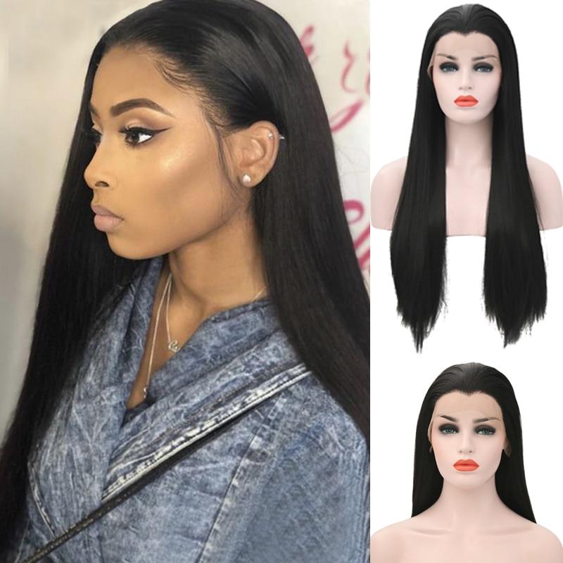 Carisma parte livre peruca dianteira do laço natural cabelo reto glueless perucas sintéticas com janela pico resistente ao calor do cabelo perucas femininas