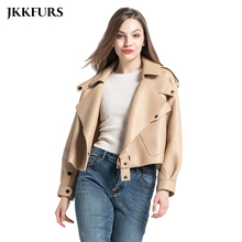 8 Colors Women #8217 s Genuine Leather Jacket New Fashion Real Leather Coat Lady 2020 Spring Sheepskin Leather S7547 cheap Jancoco Max Single Breasted REGULAR Three Quarter Pockets Leather Suede NONE Polyester Casual Turn-down Collar