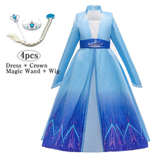 Girls 2 Anna Elsa Dress Princess Dress vestidos Kid
