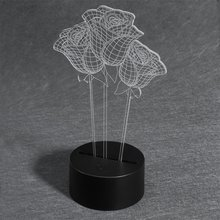 3D светодиодный Настольный светильник USB DC 5V ночной Светильник цветок розы светильник домашний Декор подарок