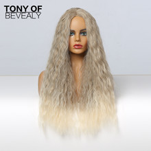 Wigs Long Blonde Synthetic-Hair Cosplay Heat-Resistant-Fiber Kinky Curly Brown Ombre