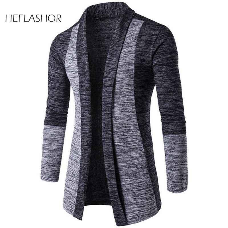 HEFLASHOR Mannen Patchwork Trui Mode Patroon Ontwerp Koreaanse Stijl Lange Mouw Mannelijke Vest Trui Slim Fit Casual Trui