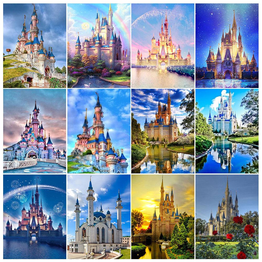 Wen Zuan paysage plein carré 5D bricolage diamant peinture bâtiment château diamant broderie strass mosaïque décoration de la maison cadeau