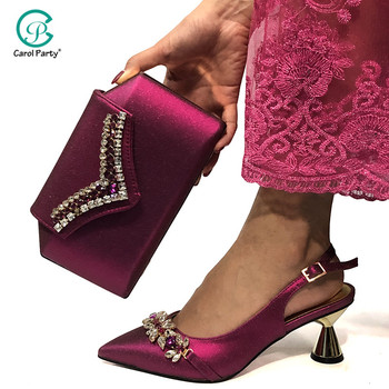 2020 New Arrival Italian design Women Wedding Shoes and Bag Set Decorated with Rhinestone In Women Matching Shoes and Bag Set