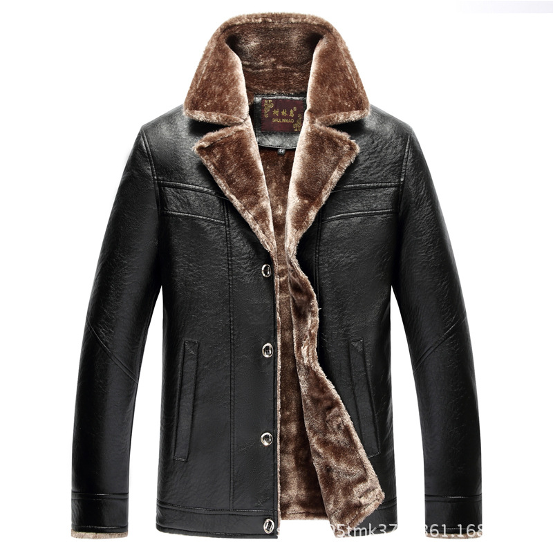 2018 Casual Middle-aged Men Fur PU Leather Jacket Autumn And Winter Brushed And Thick Coat Daddy Clothes