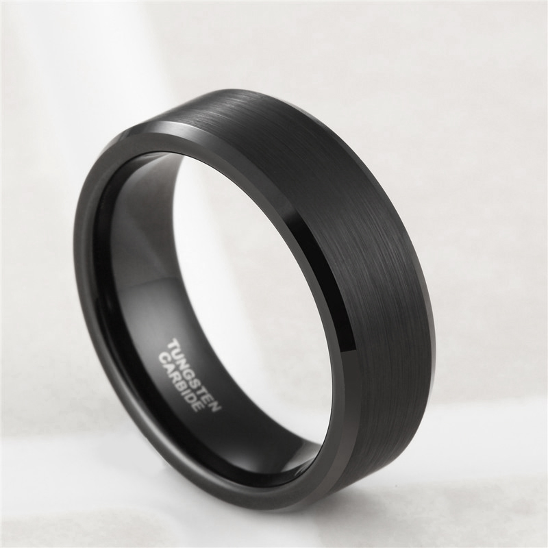 Somen Ring Men Classic 8MM Pure Black Tungsten Ring Brushed Finished - Fashion Jewelry - Photo 5