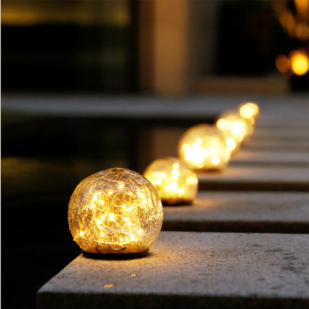 Cracked Glass Ball LED Solar Buried Light Outdoor Waterproof IP65 Underground Light For Decorated Patio Stairs Lawn Garden Light|Solar Lamps|   - AliExpress