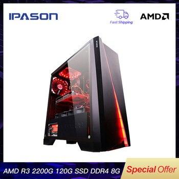 IPASON CHEAP Gaming PC Quad-Core AMD Ryzen3 2200G/DDR4 8G RAM/120G SSD/1T+240G  SSD Desktop Gaming Computers intel desktop gaming pc p24 i5 9400f 6 core dedicated card gtx1660 6g asus b365m 1t 120g ssd 8g ddr4 ram pubg gaming desktop pc